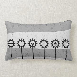 Schwarzweiss-Sonne-Blumenmuster Lendenkissen