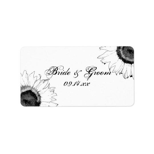 Schwarzweiss-Sonnenblume-Gastgeschenk Adressaufkleber