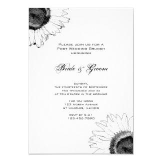 Schwarzweiss-Sonnenblume-Posten-Hochzeits-Brunch Karte