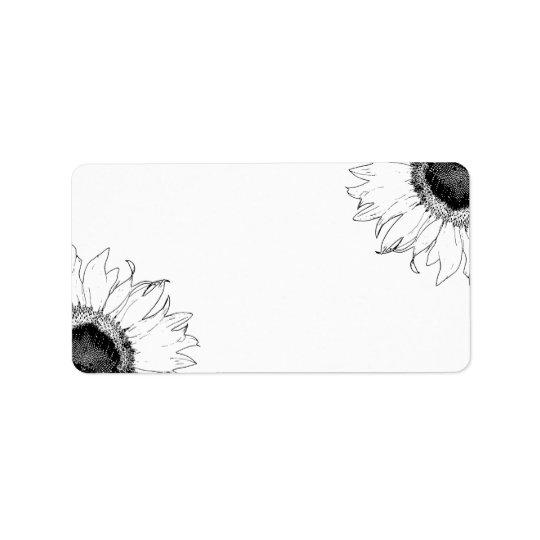 Schwarzweiss-Sonnenblumen Adressaufkleber