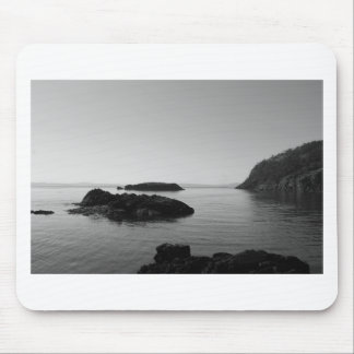 Schwarzweiss-Sonnenuntergang-Ozean-Szene Mauspads