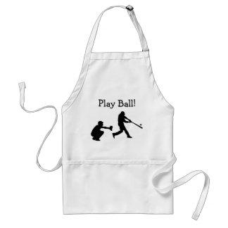 Schwarzweiss-Spiel-Ball-Baseball trägt Schürze zur