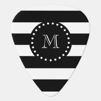 Schwarzweiss-Streifen-Muster, schwarzes Monogramm Plektrum