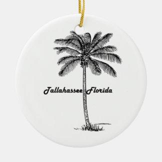 Schwarzweiss-Tallahassee- u. Palmenentwurf Rundes Keramik Ornament