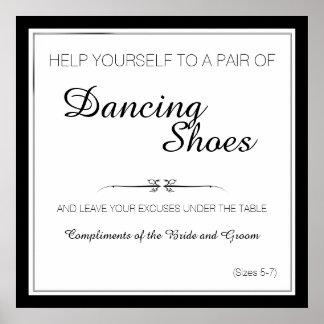 Schwarzweiss-Tanzen beschuht Hochzeits-Zeichen Poster