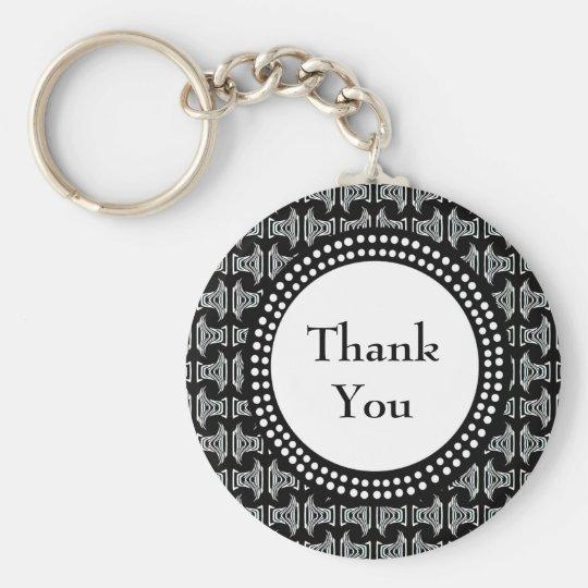 Schwarzweiss-Tiki Muster danken Ihnen Standard Runder Schlüsselanhänger