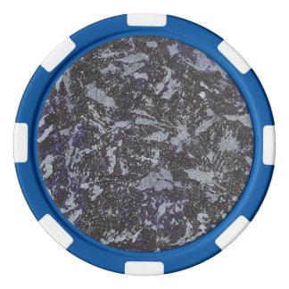 Schwarzweiss-Tinte auf lila Hintergrund Poker Jetons