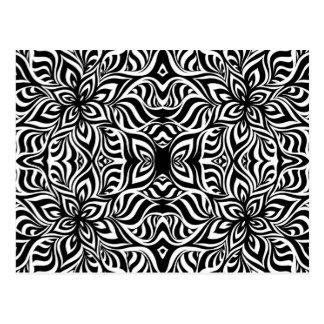 Schwarzweiss-Tinten-Fraktal-Blumen Postkarte