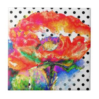 Schwarzweiss-Tupfen der roten Mohnblume Kleine Quadratische Fliese