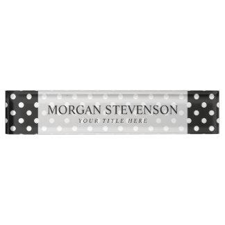 Schwarzweiss-Tupfen-Muster Schreibtischplakette