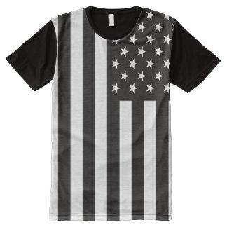 Schwarzweiss-USA-Flagge T-Shirt Mit Bedruckbarer Vorderseite