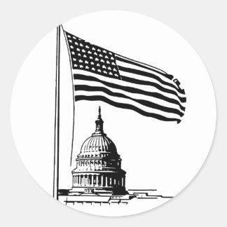 Schwarzweiss-USA Runder Aufkleber