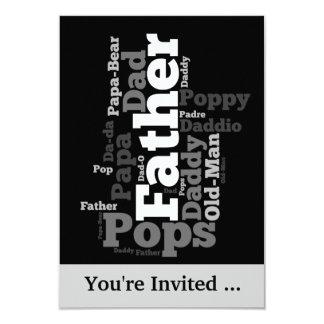 Schwarzweiss-Vater-Wort-Collage 8,9 X 12,7 Cm Einladungskarte