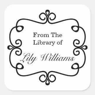 Schwarzweiss von der Bibliothek des Buchzeichens Quadratischer Aufkleber