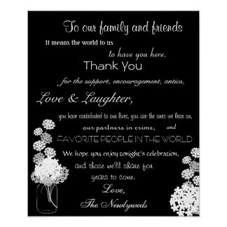 Schwarzweiss-Weckglas-Hochzeit danken Ihnen zu Poster