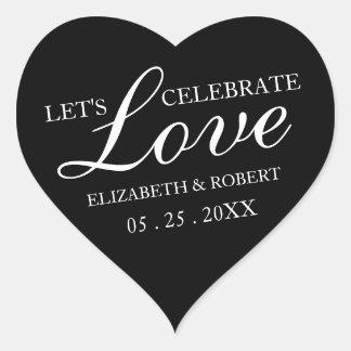 Schwarzweiss-Wedding Einladung des Herz-Aufkleber