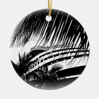 Schwarzweiss-Weihnachten der Kreuzschiff-Ferien-| Rundes Keramik Ornament