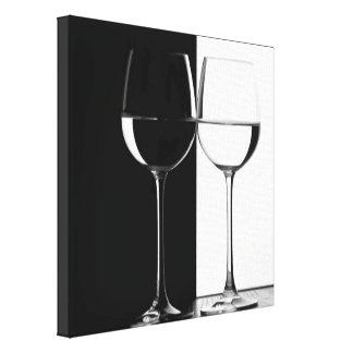 Schwarzweiss-Weinglas-Leinwandwanddruck Leinwanddruck