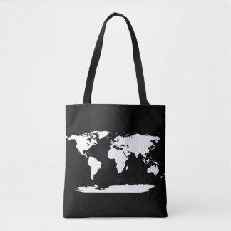 Schwarzweiss-Weltkarte + Initiale Tasche