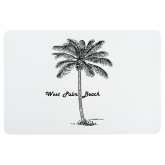 Schwarzweiss-West- Palm Beach u. Palmenentwurf Bodenmatte