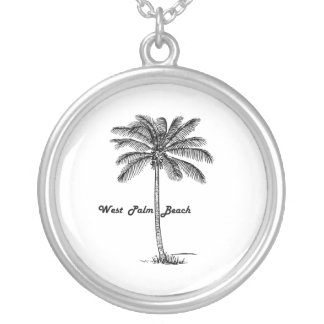 Schwarzweiss-West- Palm Beach u. Palmenentwurf Halskette Mit Rundem Anhänger
