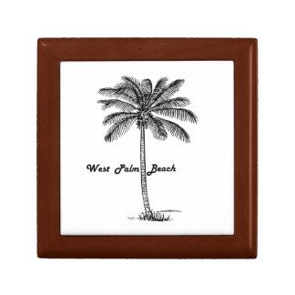 Schwarzweiss-West- Palm Beach u. Palmenentwurf Kleine Quadratische Schatulle