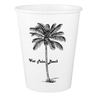 Schwarzweiss-West- Palm Beach u. Palmenentwurf Pappbecher