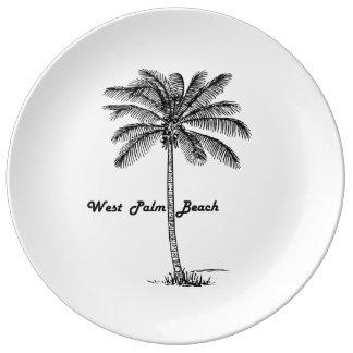 Schwarzweiss-West- Palm Beach u. Palmenentwurf Porzellanteller