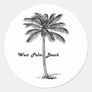 Schwarzweiss-West- Palm Beach u. Palmenentwurf Runder Aufkleber