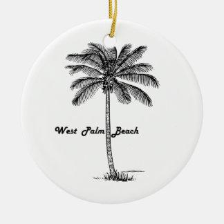 Schwarzweiss-West- Palm Beach u. Palmenentwurf Rundes Keramik Ornament