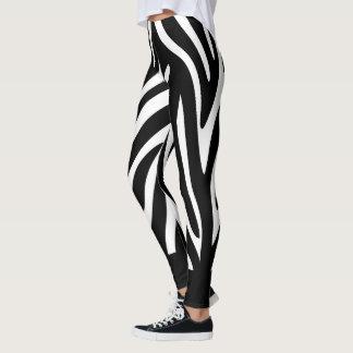 Schwarzweiss-Zebra-Streifen mit mutigem Körper Leggings