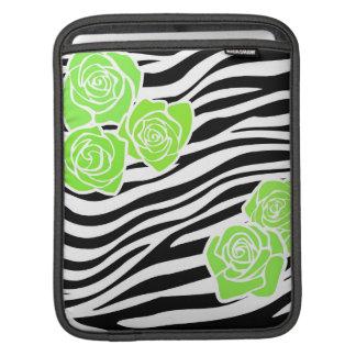Schwarzweiss-Zebramuster + grüne Rosen Sleeve Für iPads