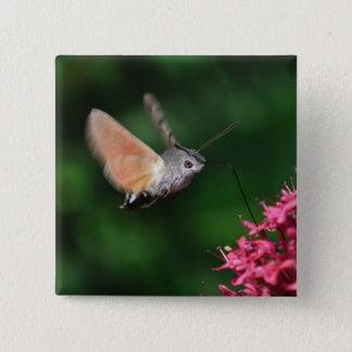 Schwebende Kolibrimotte Quadratischer Button 5,1 Cm
