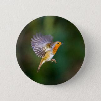 Schwebende Rotkehlchenphotographie auf einem Runder Button 5,1 Cm