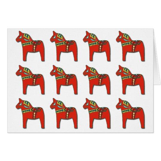 Schwede Dala Pferdemuster mit personalisiertem Grußkarte