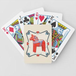 Schwede Dala Pferdevolkskunst gerahmt Bicycle Spielkarten