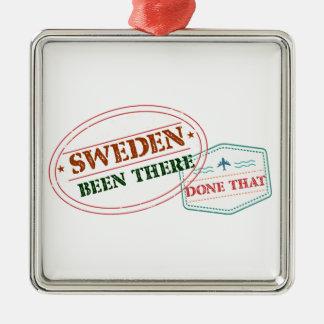 Schweden dort getan dem quadratisches silberfarbenes ornament