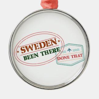 Schweden dort getan dem rundes silberfarbenes ornament