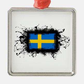 Schweden-Flagge Quadratisches Silberfarbenes Ornament