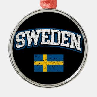 Schweden-Flagge Rundes Silberfarbenes Ornament