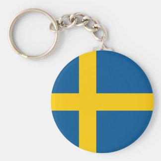 Schweden-Flagge Standard Runder Schlüsselanhänger