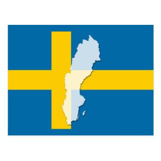 Schweden-Flaggenkarten-Konturpostkarte Postkarte