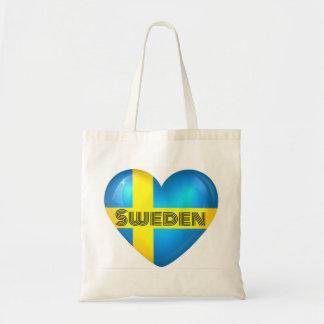 Schweden-Herz-Flagge Budget Stoffbeutel