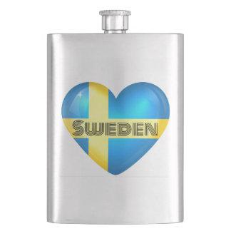 Schweden-Herz-Flagge Flachmann