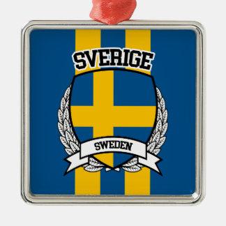 Schweden Quadratisches Silberfarbenes Ornament