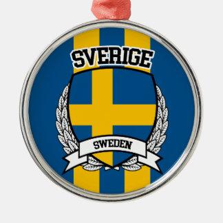 Schweden Rundes Silberfarbenes Ornament