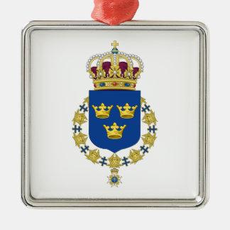 Schweden-Wappen Quadratisches Silberfarbenes Ornament