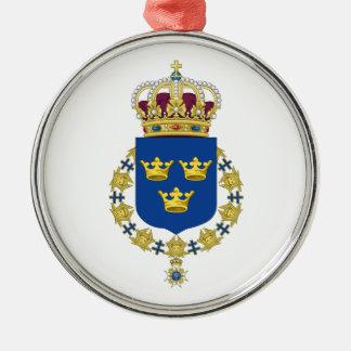 Schweden-Wappen Rundes Silberfarbenes Ornament