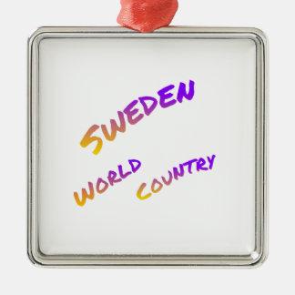 Schweden-Weltland, bunte Textkunst Quadratisches Silberfarbenes Ornament
