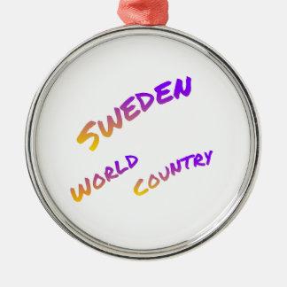 Schweden-Weltland, bunte Textkunst Rundes Silberfarbenes Ornament